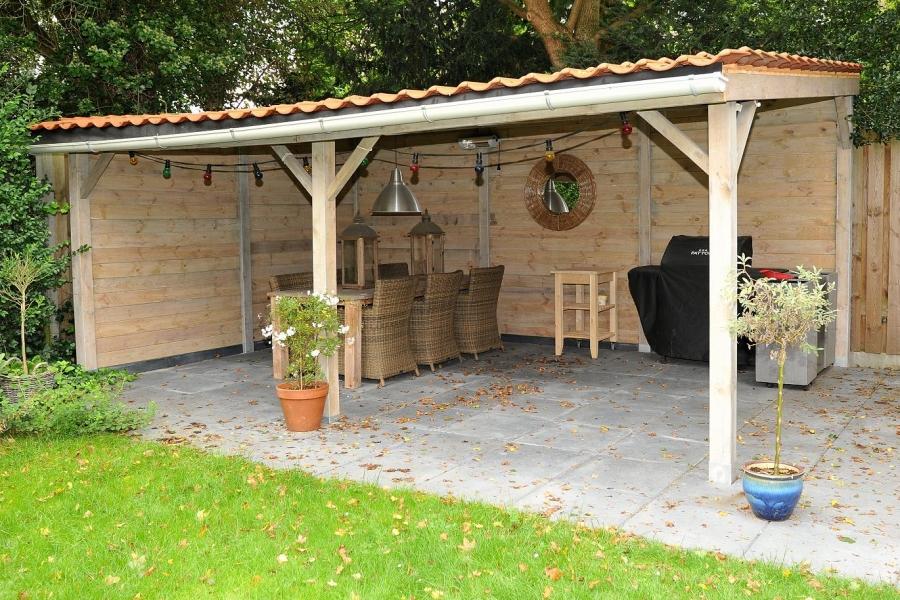 Hout maatwerk tuinhuis verhoeven - Overdekt terras in hout ...