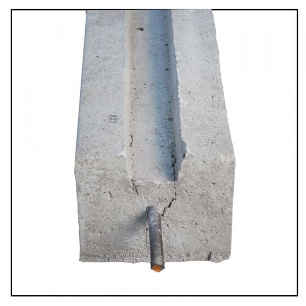 *Betonpaal Eindpaal met pin Grijs 12x12x266+60cm