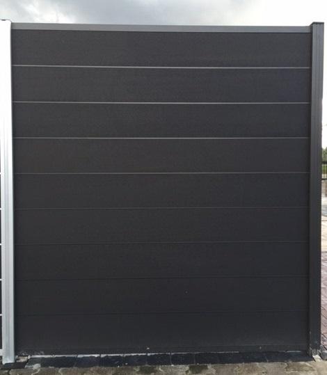 *WPC schutting fixed system antraciet 196x180cm ALU Antraciet 9 wpc lamellen + 8 alu veren