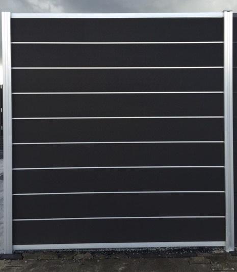 *WPC schutting fixed system rock-grey 196x180cm ALU Grijs 9 wpc lamellen + 8 alu veren