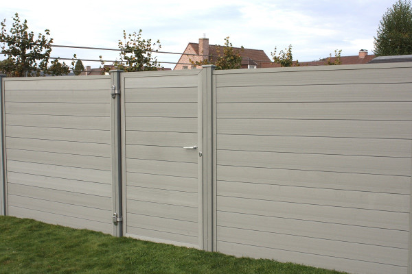 Dual Straight WPC Tand&groef POORT incl. slot Grey 100x180cm