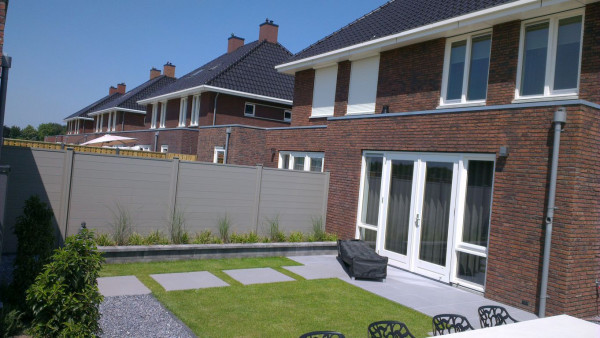 Dual Straight WPC Tand&Groef tuinscherm Grey 180x180cm