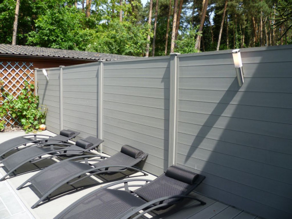 Dual Straight WPC Tand&Groef tuinscherm Grey 200x180cm