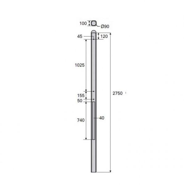 Betonpaal Plat Granietmotief antraciet 10x10x275cm tussen sponning 74cm met lichtleiding (levertijd