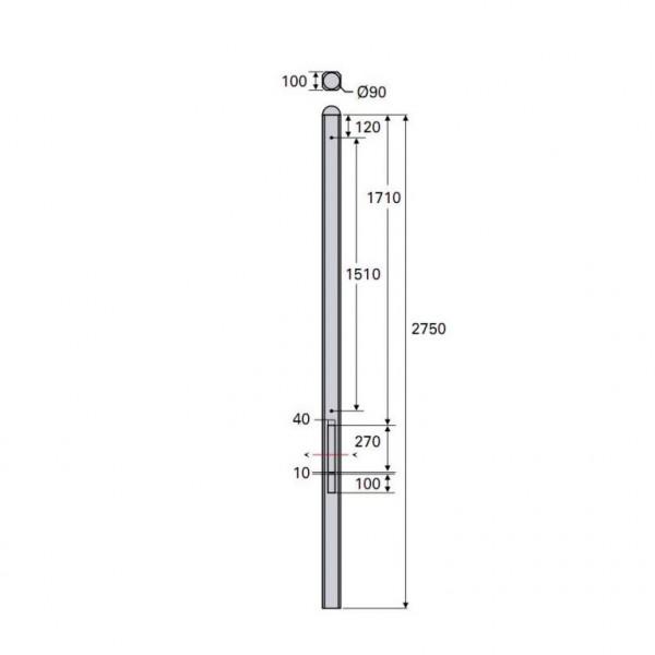 *Betonpaal Bol Glad antraciet 10x10x275cm tussen sponning 37cm