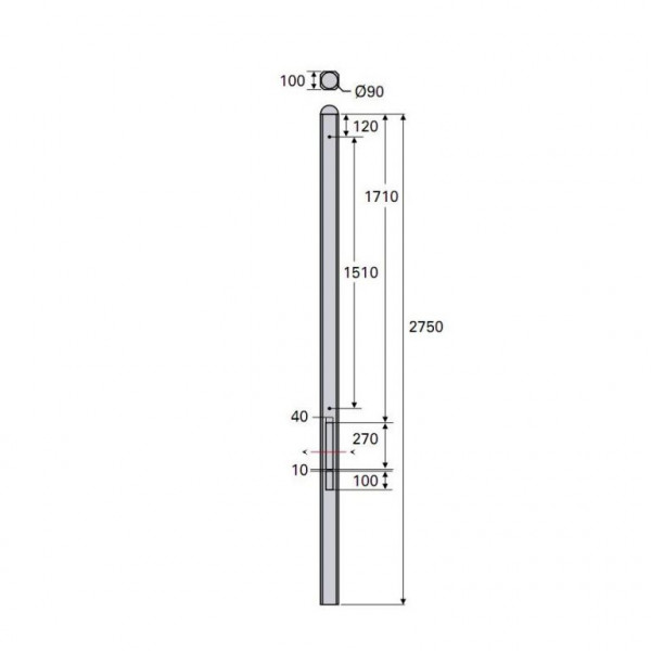 *Betonpaal Plat Glad antraciet 10x10x275cm tussen sponning 37cm