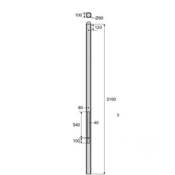 Betonpaal Plat Glad antraciet 10x10x310cm tussen sponning 54cm (levertijd ca. 4 weken)