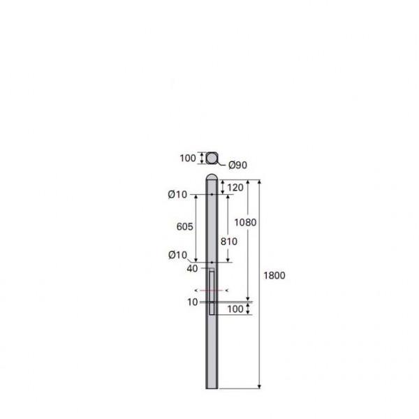 Betonpaal Bol Glad antraciet 10x10x180cm 3-sponning 37cm (levertijd ca. 4 weken)