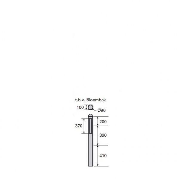 Betonpaal Plat Glad antraciet 10x10x100cm tussen sponning 37cm (levertijd ca. 4 weken)