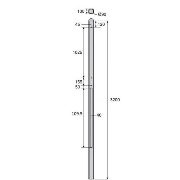 Betonpaal Bol Glad antraciet 10x10x320cm 3-sponning 108cm (levertijd ca. 4 weken)