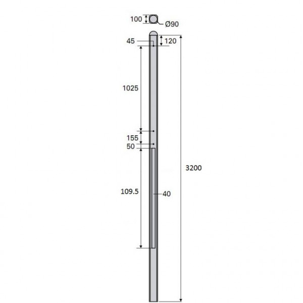 Betonpaal Bol Glad antraciet 10x10x320cm tussen sponning 108cm (levertijd ca. 4 weken)