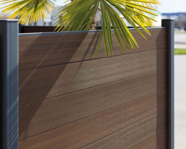 Easy-Fence Scherm (12x wpc plank, begin/eindprofiel + bevestiging) 176(b)x183(h)cm Brown