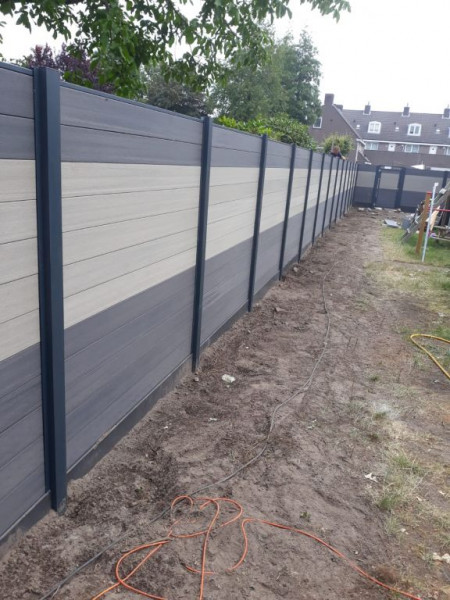 Easy-Fence Scherm (12x wpc plank, begin/eindprofiel + bevestiging) 197(b)x183(h)cm Light