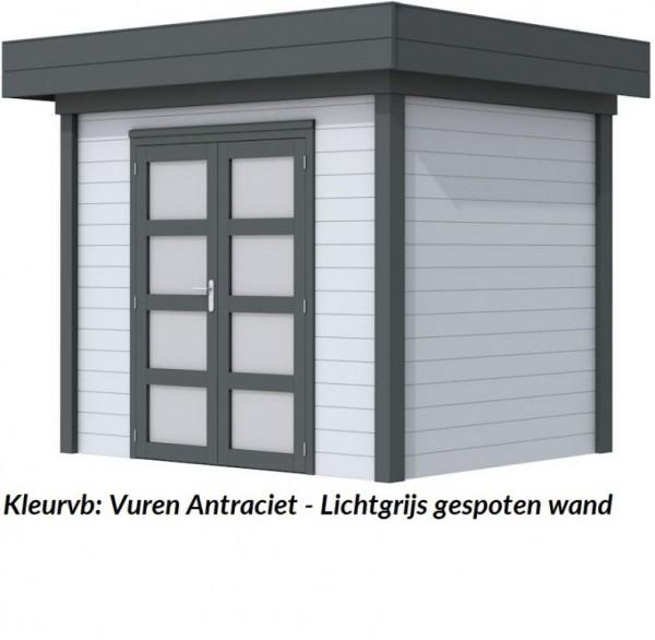 Tuinhuis Bonte Kraai 300 x 250 cm met Luifel 300 cm, lichtgrijs/antraciet gespoten.
