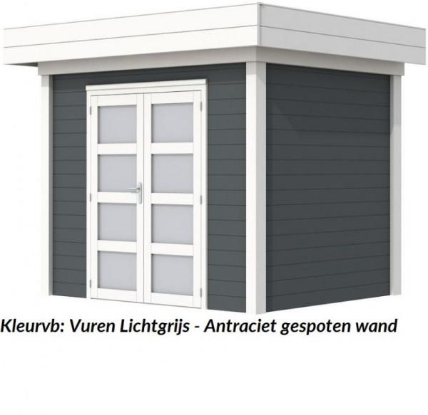 Tuinhuis Bonte Kraai 300 x 250 cm met Luifel 300 cm, antraciet/wit gespoten.